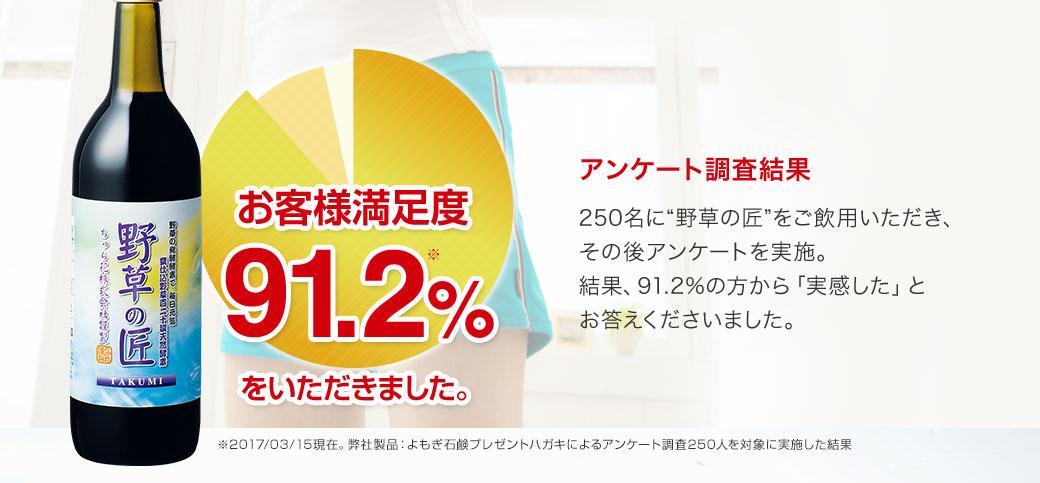 お客様満足度91.2%をいただきました。